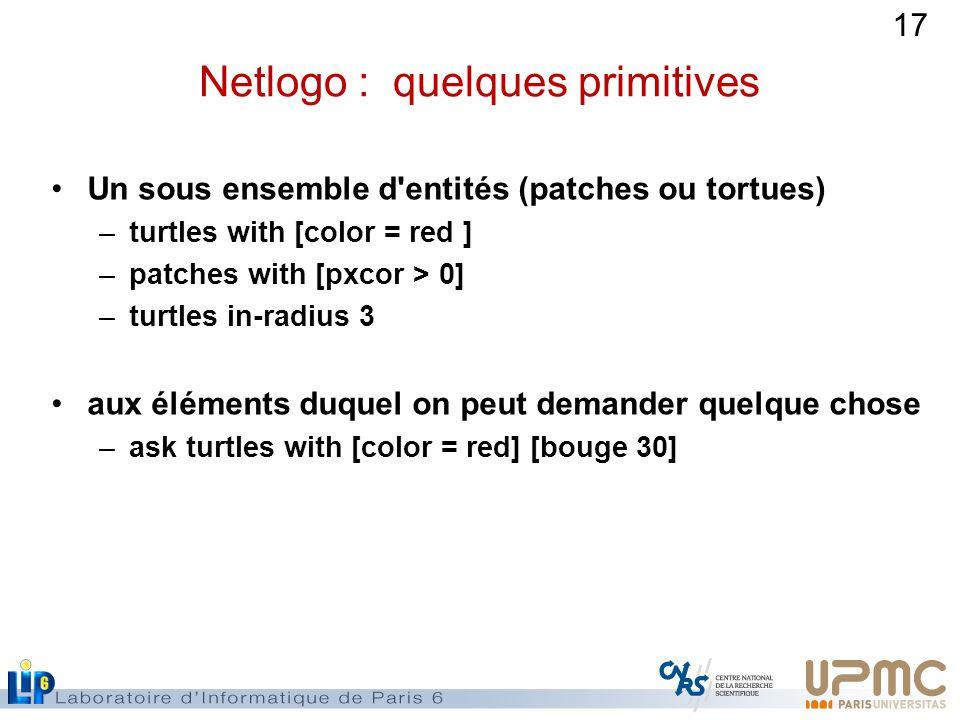 Netlogo : quelques primitives
