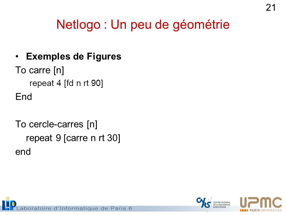 Netlogo : Un peu de géométrie