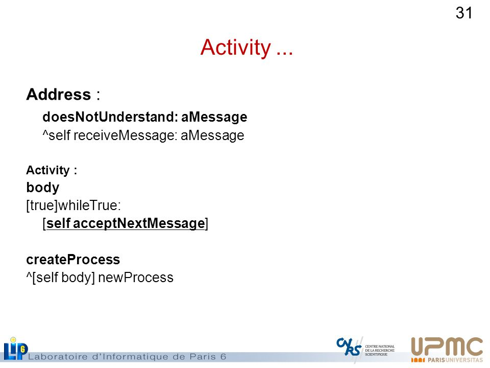 Activity ... Address : doesNotUnderstand: aMessage