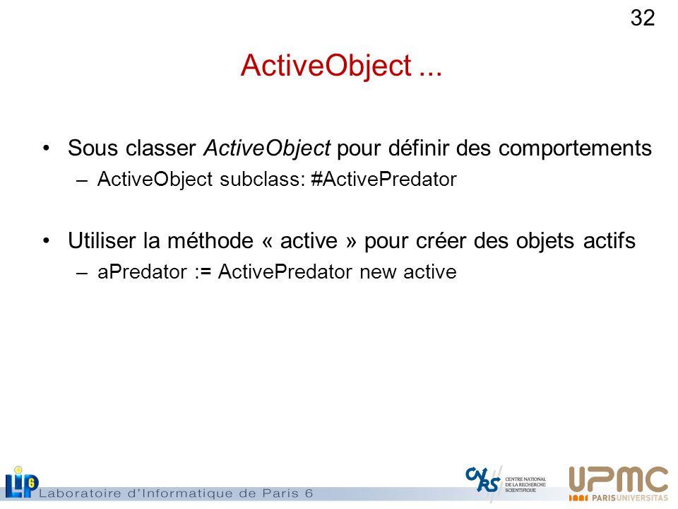 ActiveObject ... Sous classer ActiveObject pour définir des comportements. ActiveObject subclass: #ActivePredator.