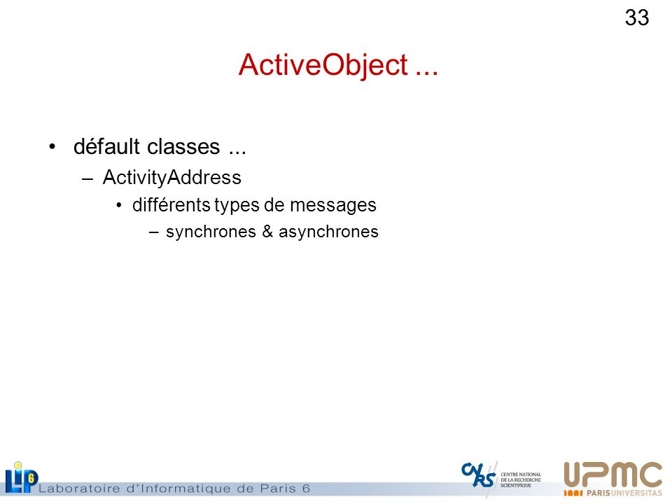 ActiveObject ... défault classes ... ActivityAddress