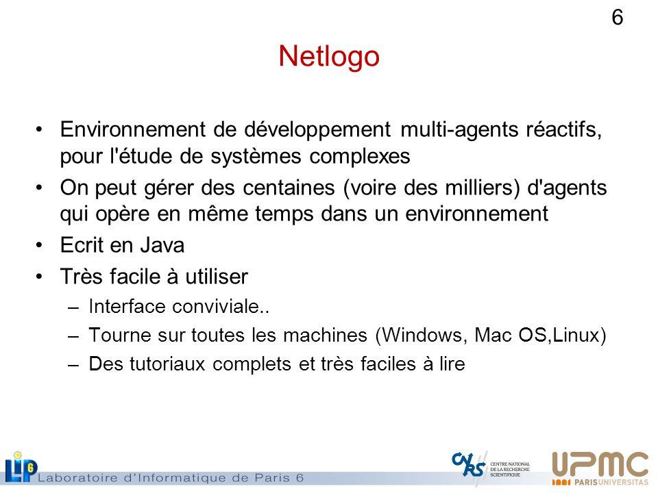 Netlogo Environnement de développement multi-agents réactifs, pour l étude de systèmes complexes