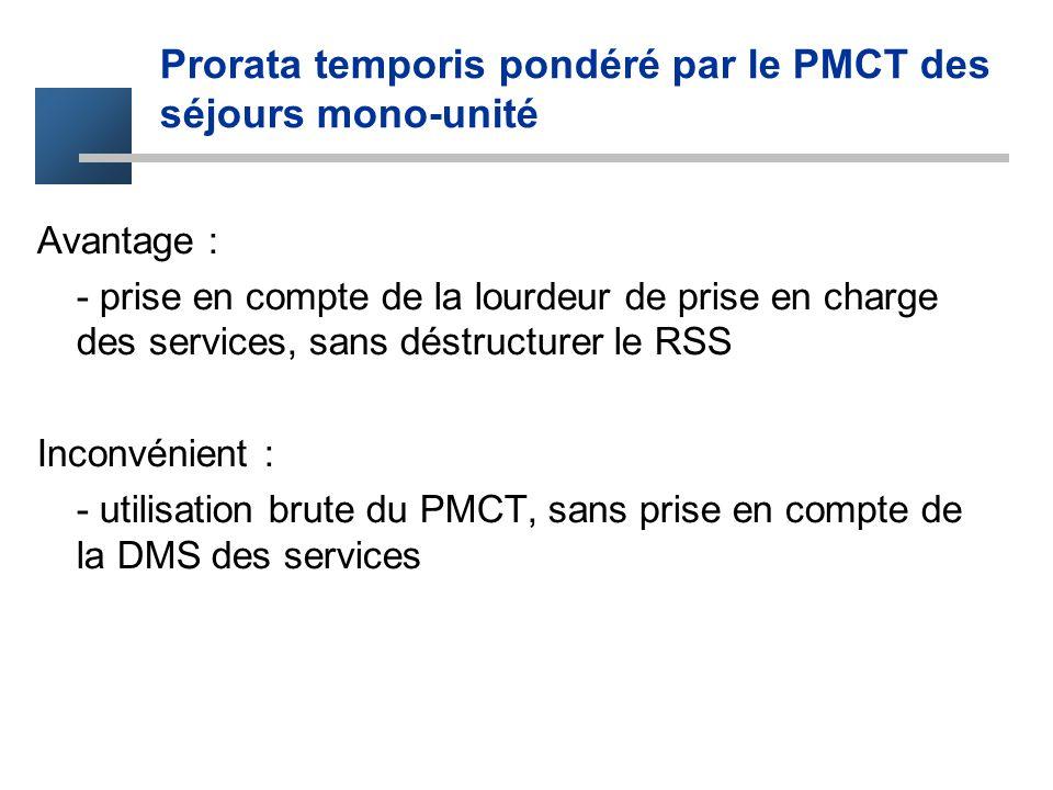 Prorata temporis pondéré par le PMCT des séjours mono-unité