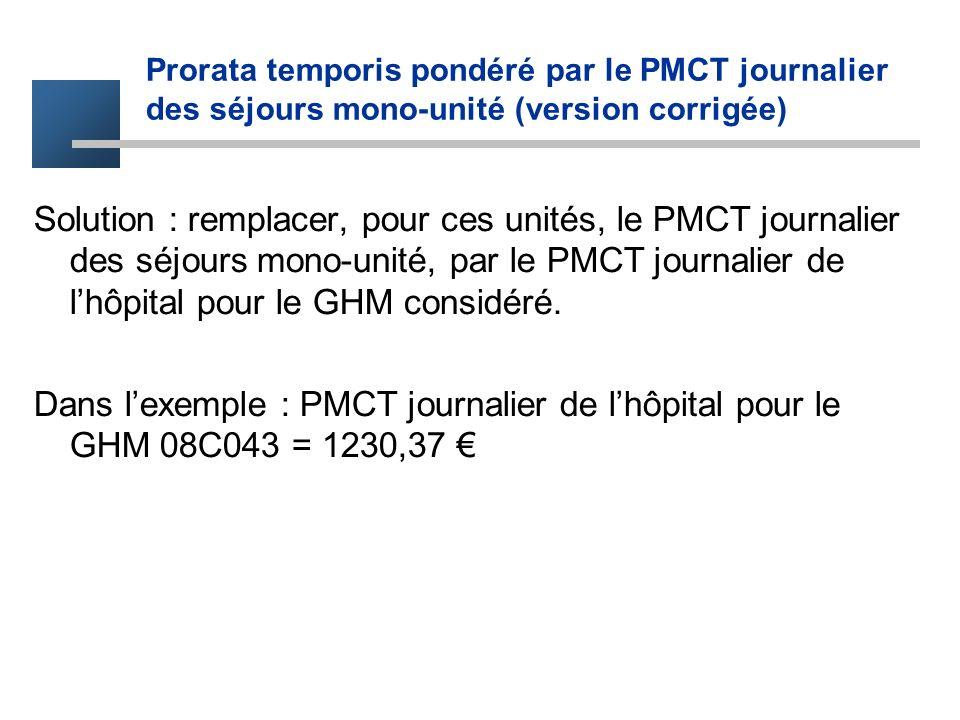 Prorata temporis pondéré par le PMCT journalier des séjours mono-unité (version corrigée)