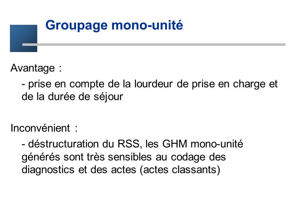 Groupage mono-unité Avantage :