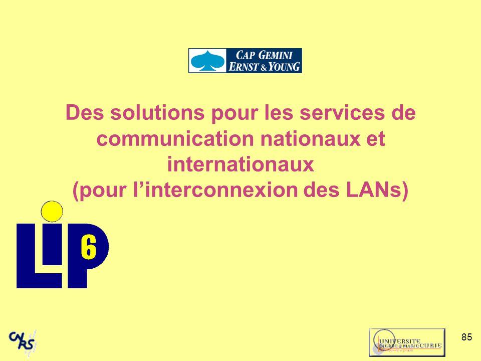 Des solutions pour les services de communication nationaux et internationaux (pour l'interconnexion des LANs)