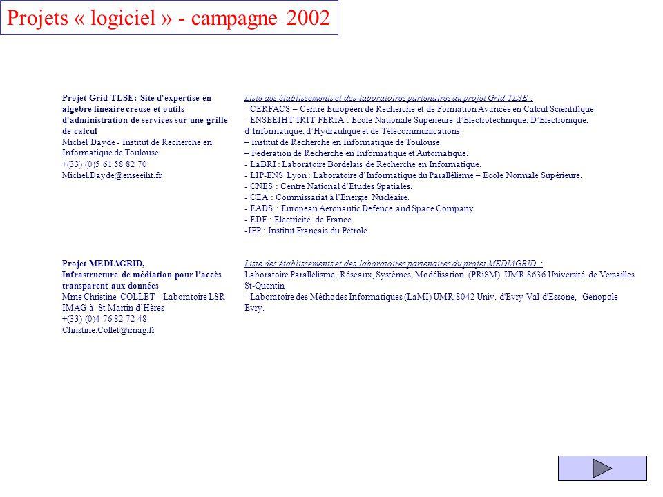 Projets « logiciel » - campagne 2002