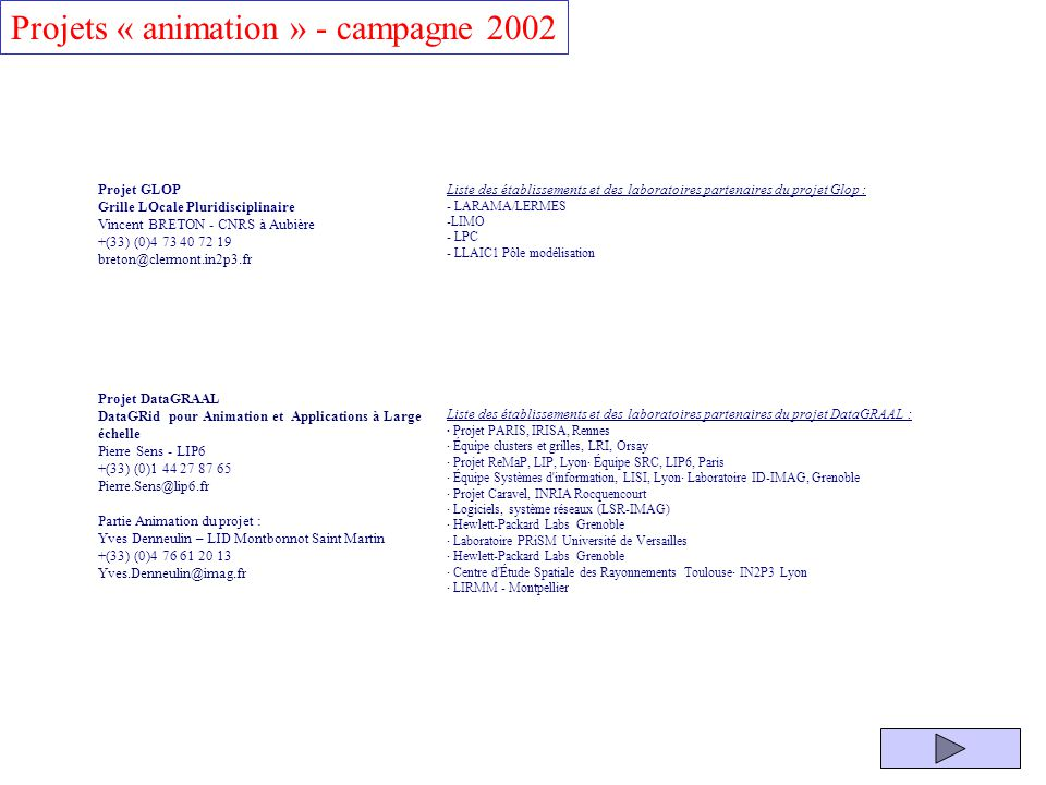 Projets « animation » - campagne 2002