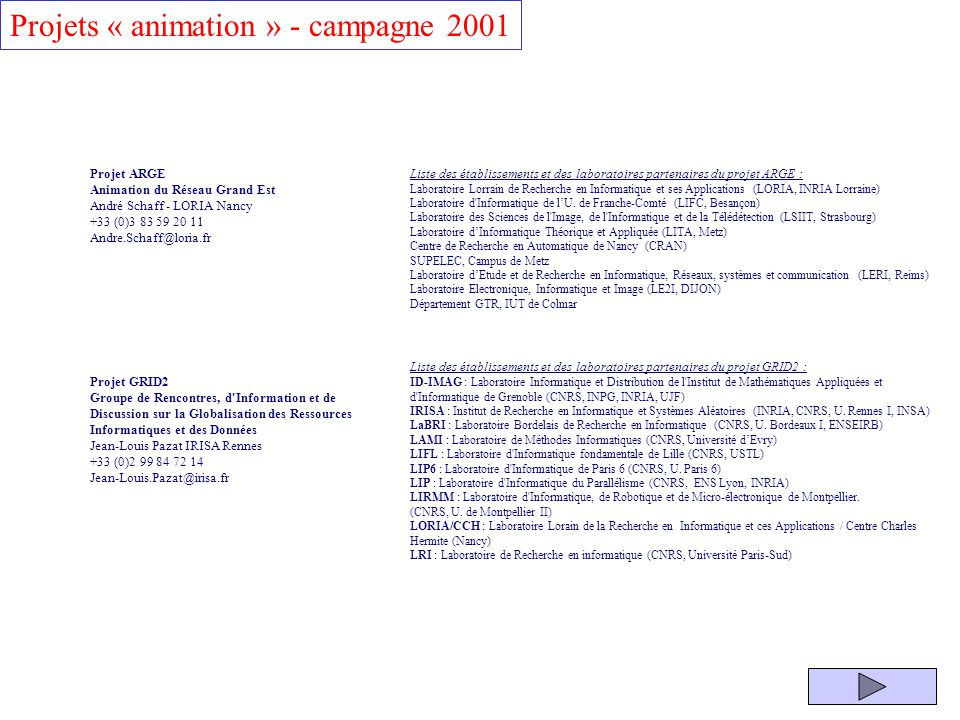 Projets « animation » - campagne 2001