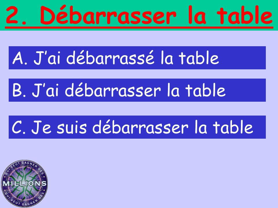 2. Débarrasser la table A. J'ai débarrassé la table