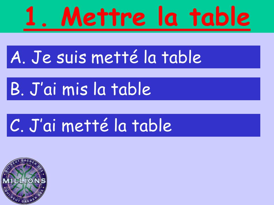 1. Mettre la table A. Je suis metté la table B. J'ai mis la table