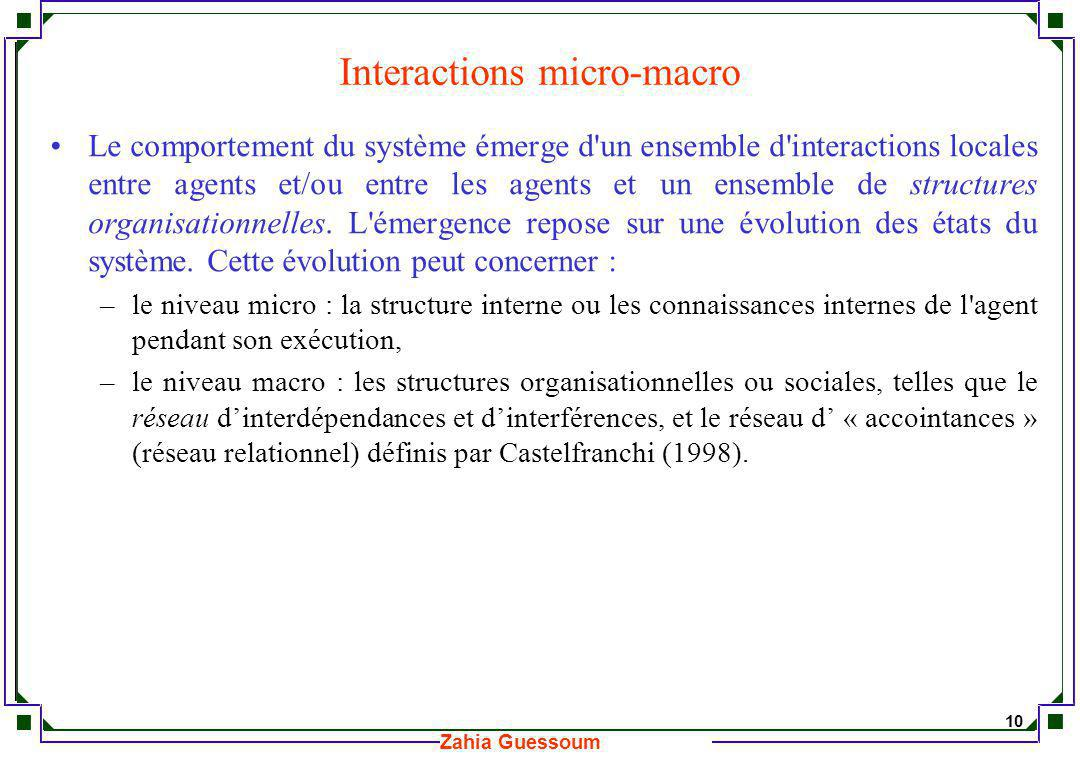 Interactions micro-macro