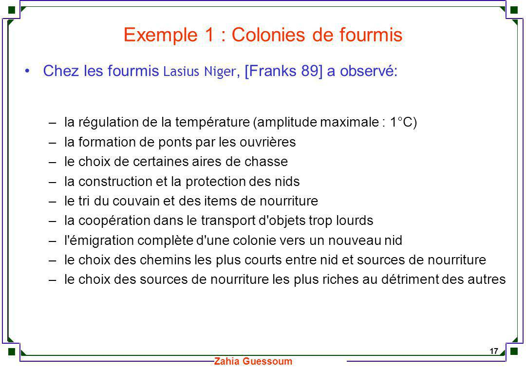 Exemple 1 : Colonies de fourmis