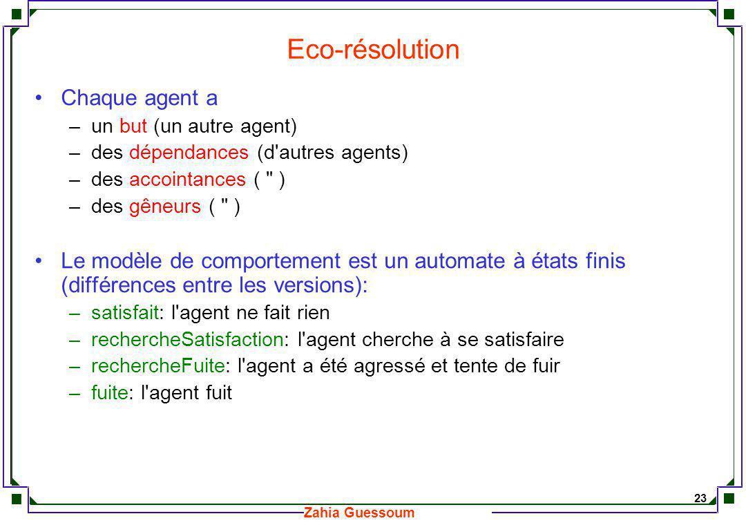 Eco-résolution Chaque agent a