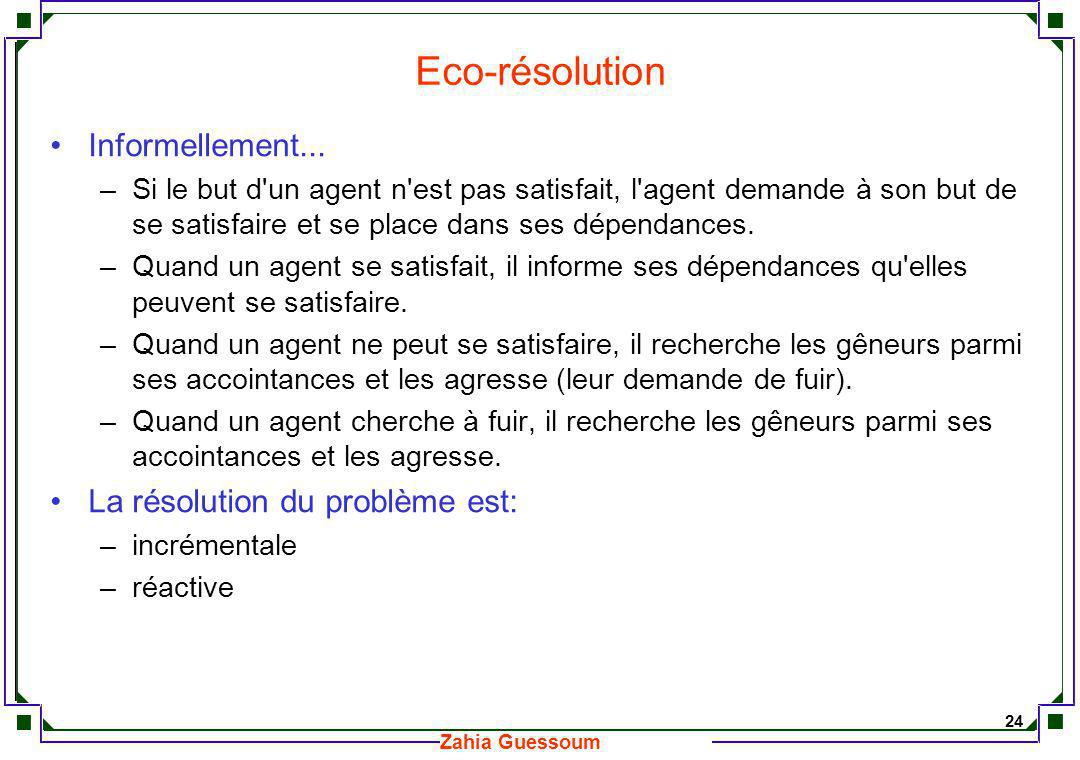 Eco-résolution Informellement... La résolution du problème est: