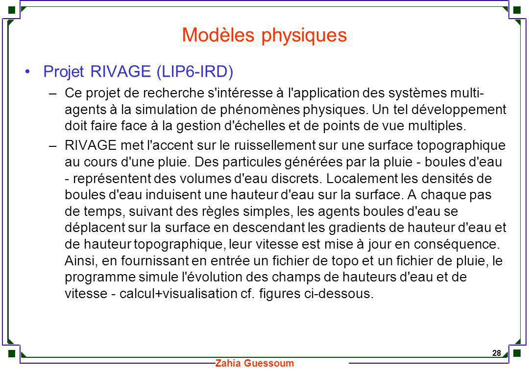 Modèles physiques Projet RIVAGE (LIP6-IRD)