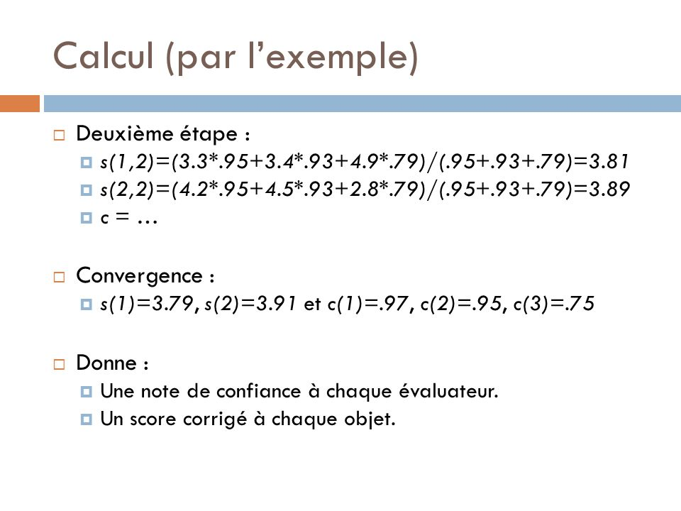 Calcul (par l'exemple)