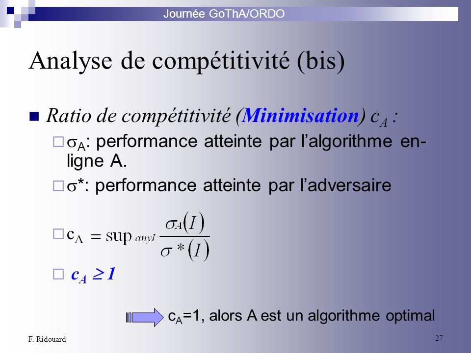 Analyse de compétitivité (bis)