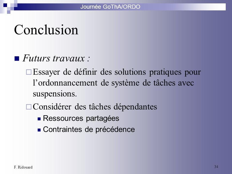 Conclusion Futurs travaux :
