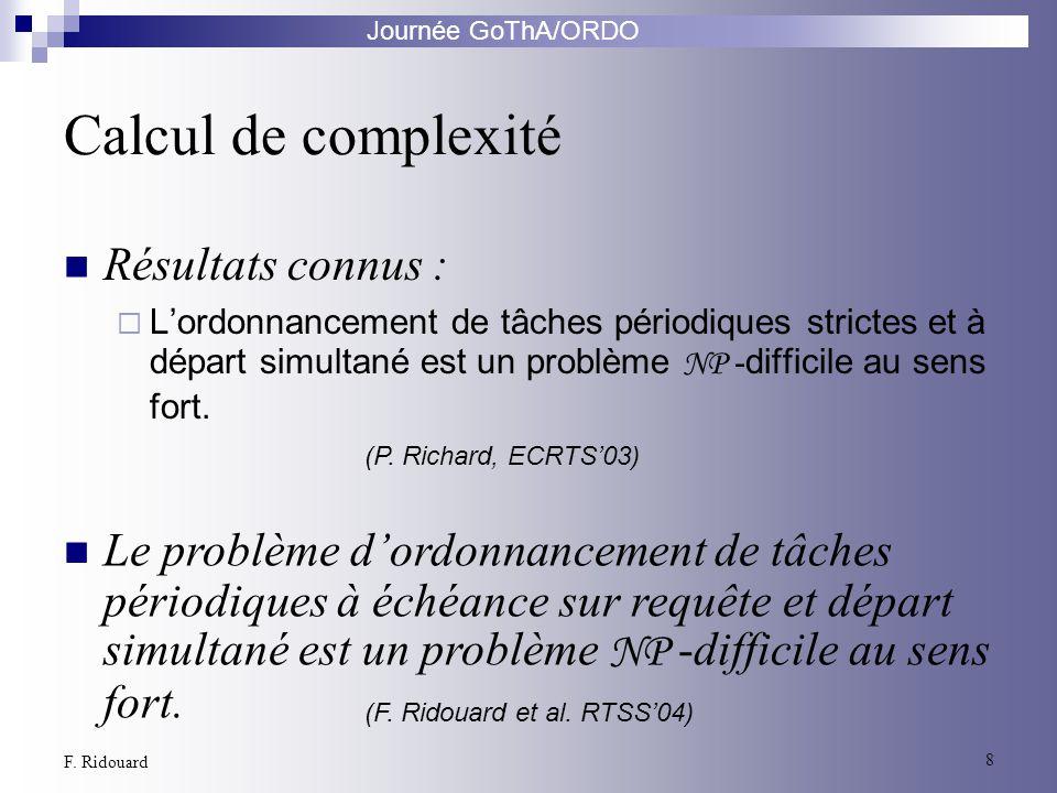 Calcul de complexité Résultats connus :