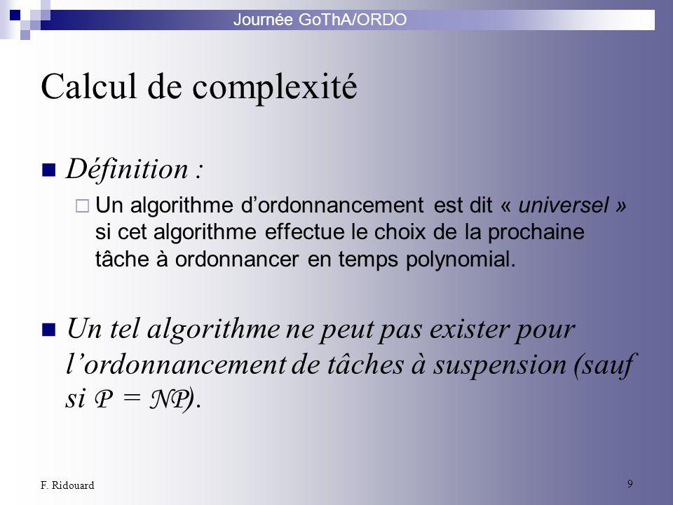 Calcul de complexité Définition :