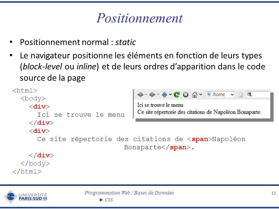 Positionnement Positionnement normal : static