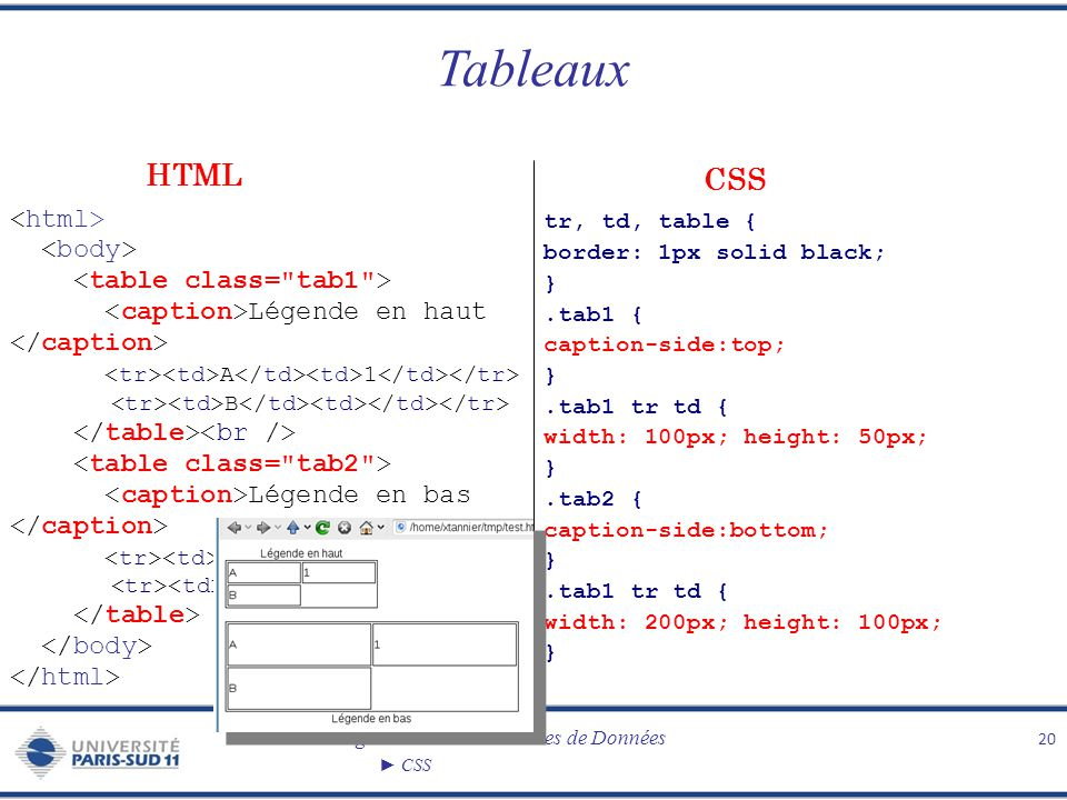 Tableaux HTML CSS <html> <body> <table class= tab1 >