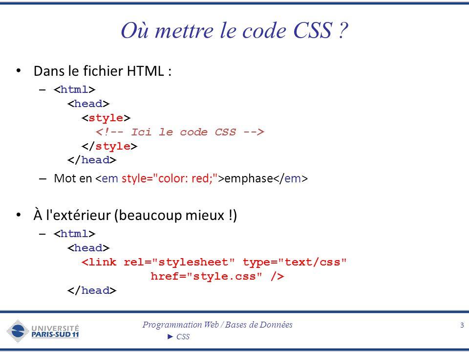 Où mettre le code CSS Dans le fichier HTML :