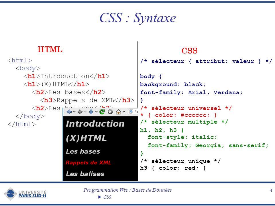 CSS : Syntaxe HTML CSS <html> <body>