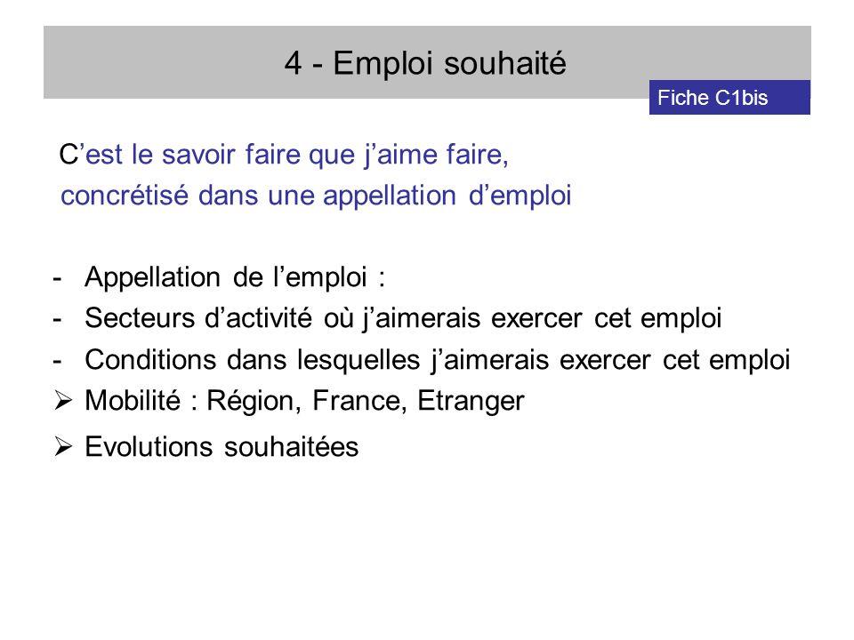 4 - Emploi souhaité concrétisé dans une appellation d'emploi