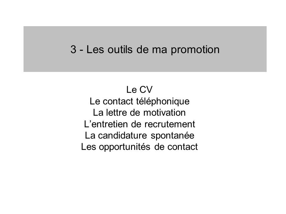 3 - Les outils de ma promotion