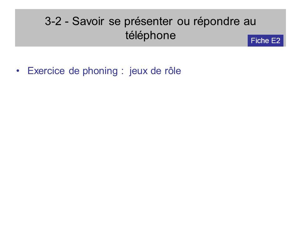 3-2 - Savoir se présenter ou répondre au téléphone