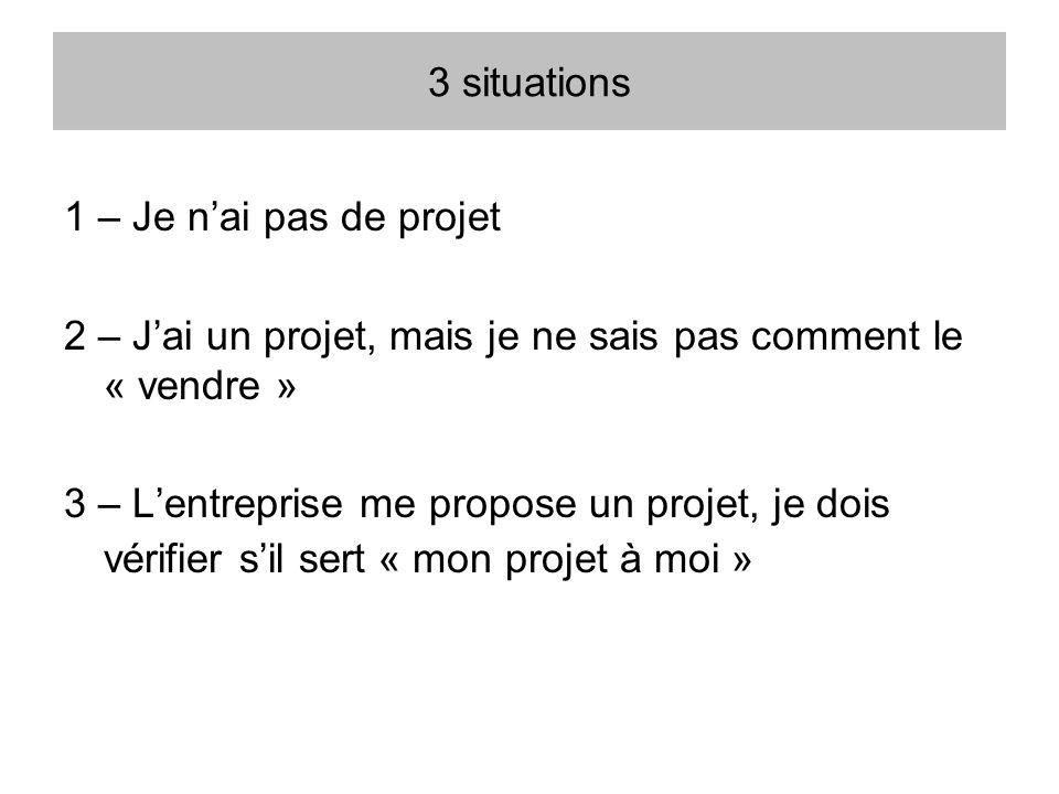 3 situations 1 – Je n'ai pas de projet. 2 – J'ai un projet, mais je ne sais pas comment le « vendre »