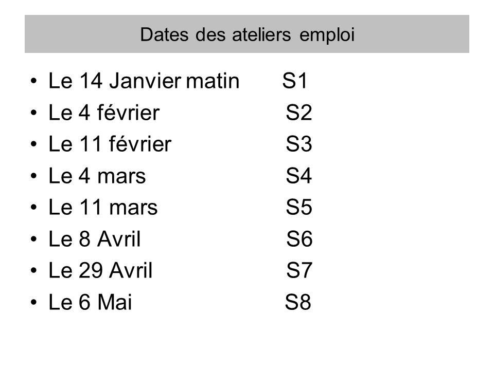 Dates des ateliers emploi