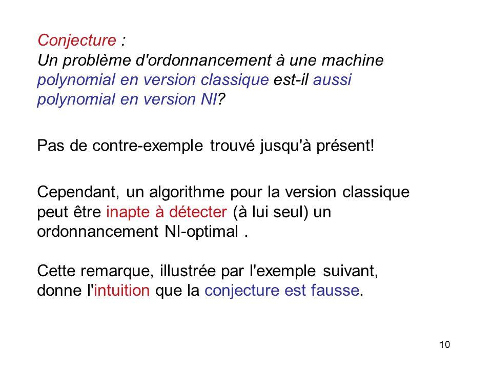 Conjecture : Un problème d ordonnancement à une machine. polynomial en version classique est-il aussi.