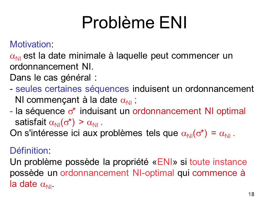 Problème ENI Motivation: