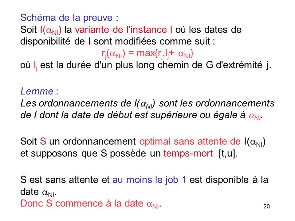 Schéma de la preuve : Soit I(NI) la variante de l instance I où les dates de. disponibilité de I sont modifiées comme suit :