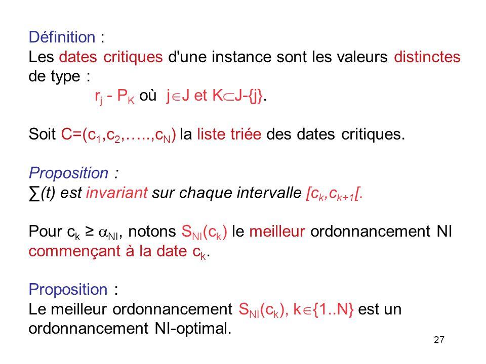 Définition : Les dates critiques d une instance sont les valeurs distinctes. de type : rj - PK où jJ et KJ-{j}.