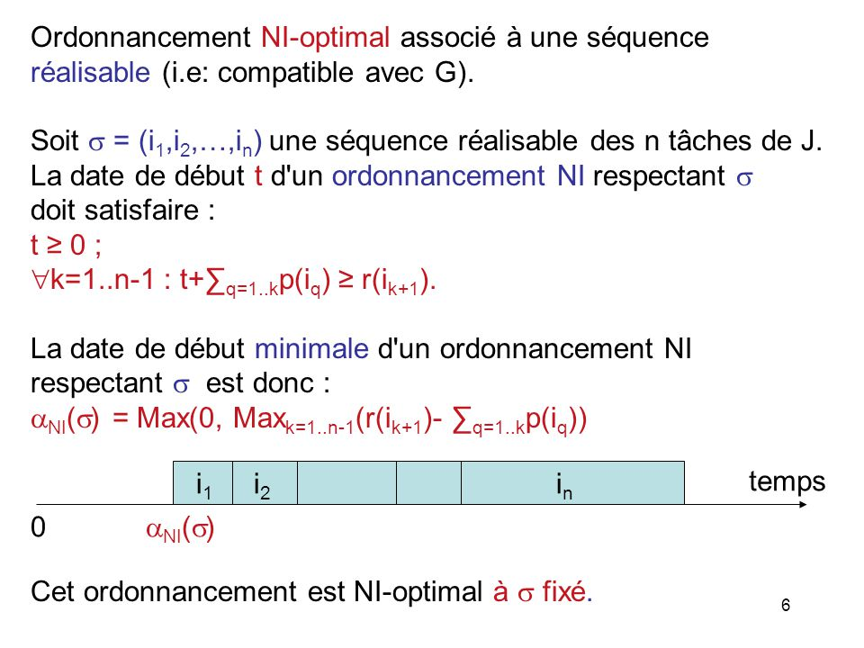 Ordonnancement NI-optimal associé à une séquence