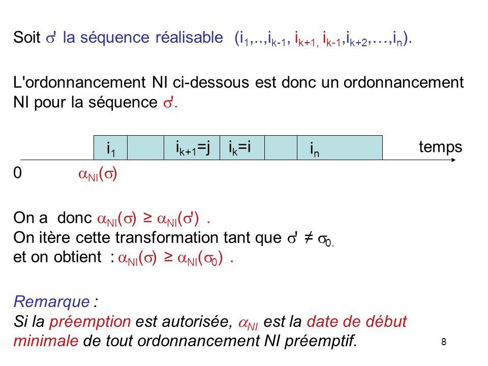 Soit  la séquence réalisable (i1,..,ik-1, ik+1, ik-1,ik+2,…,in).