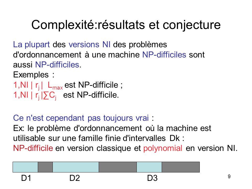 Complexité:résultats et conjecture