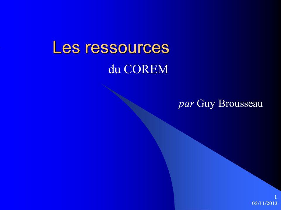 Les ressources du COREM par Guy Brousseau 25/03/2017