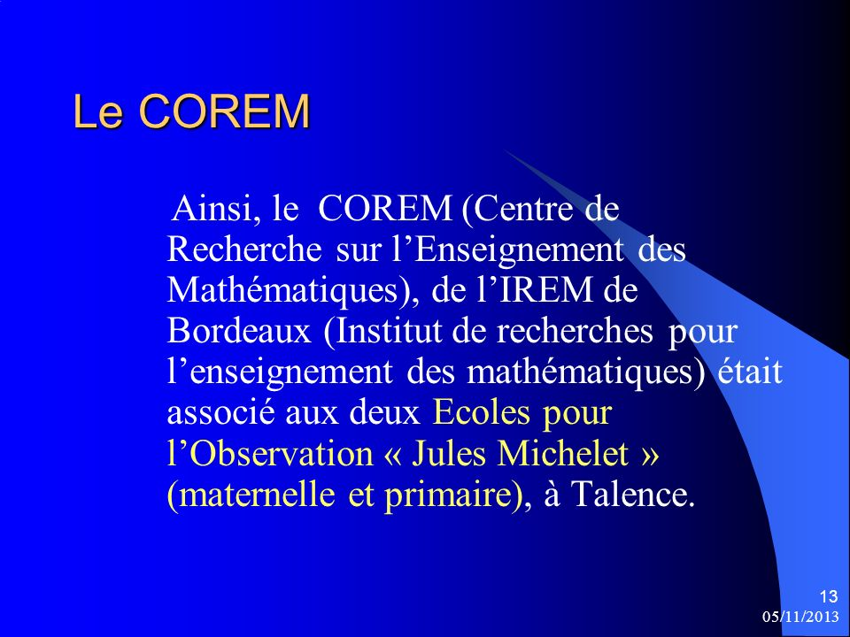 Le COREM