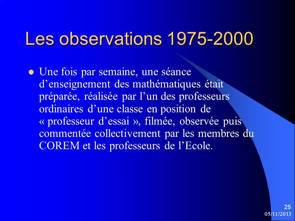 Les observations 1975-2000