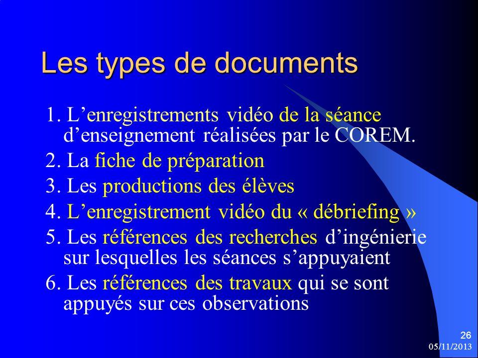 Les types de documents 1. L'enregistrements vidéo de la séance d'enseignement réalisées par le COREM.