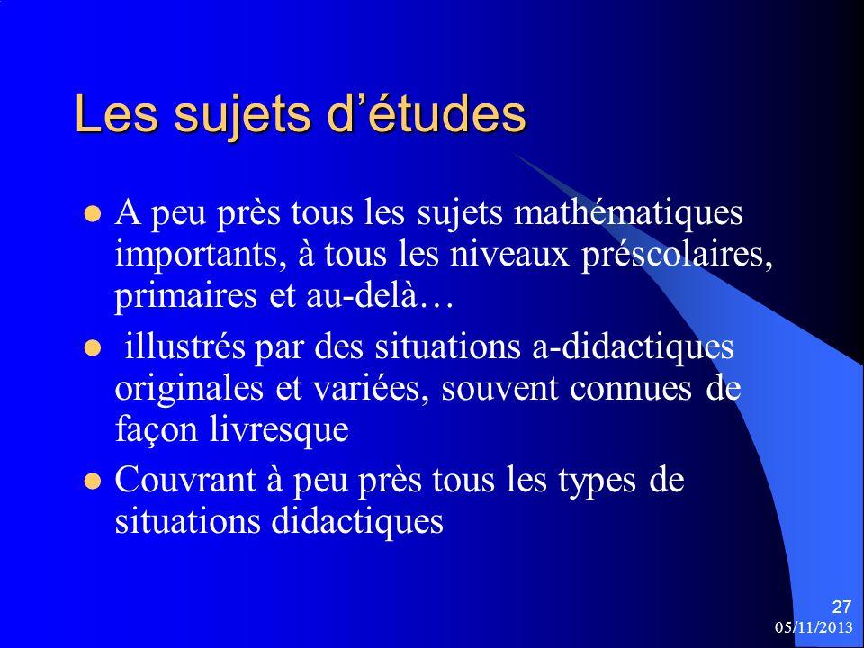 Les sujets d'études A peu près tous les sujets mathématiques importants, à tous les niveaux préscolaires, primaires et au-delà…