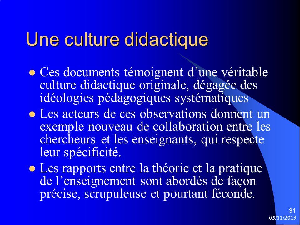 Une culture didactique