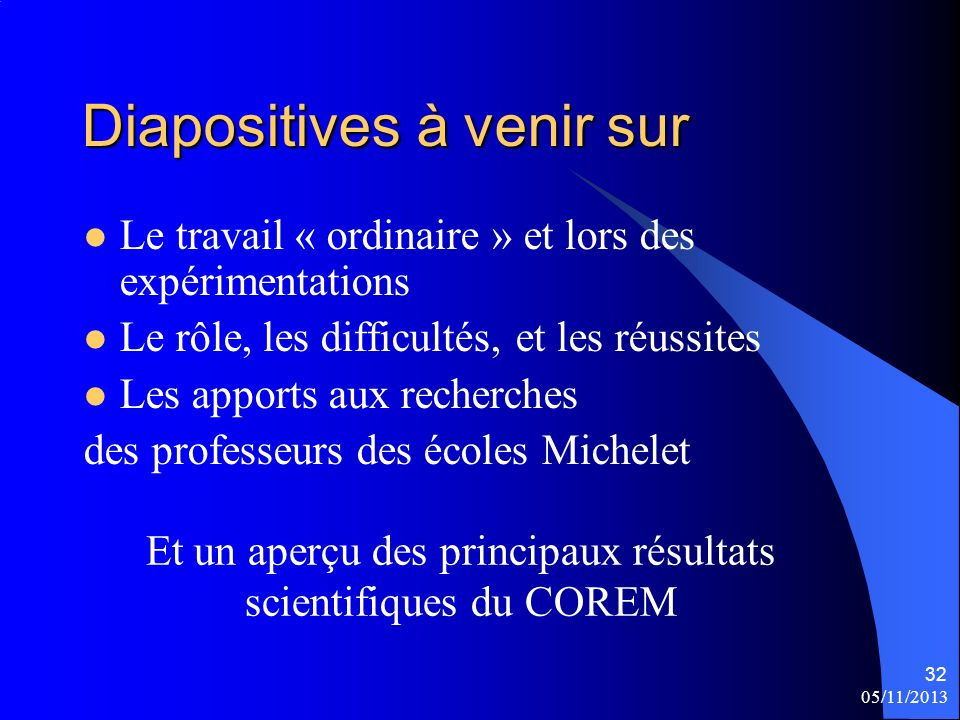 Diapositives à venir sur