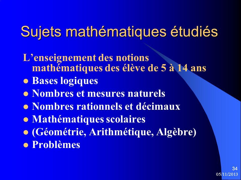 Sujets mathématiques étudiés
