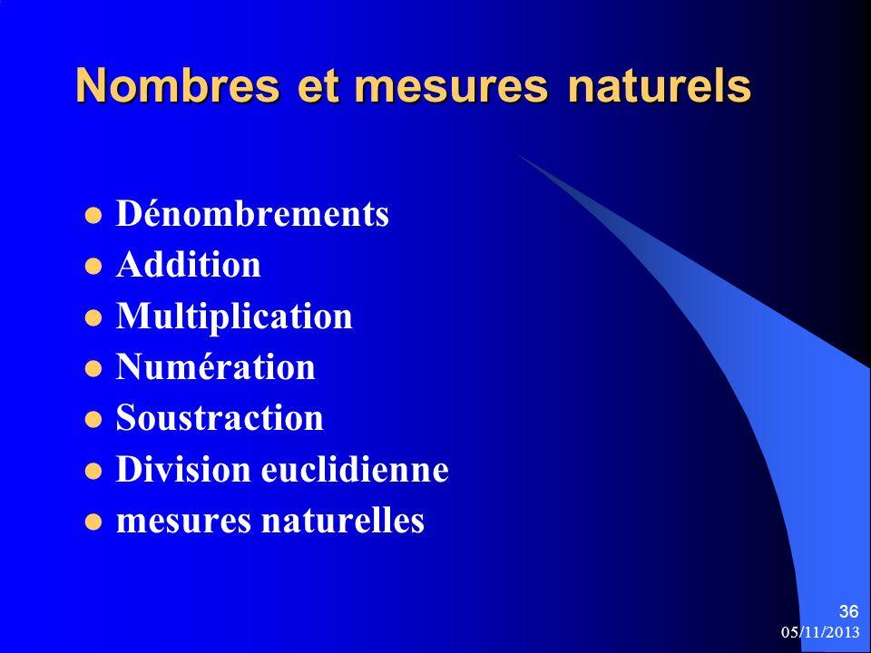 Nombres et mesures naturels